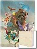 Lockjaw and The Pet Avengers No.1 Cover: Lockjaw, Lockheed, Throg, Redwing and Hairball Wood Print by Karl Kerschl