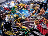 Avengers/Invaders No.4 Group: Wolverine, Ares, Ms. Marvel, Cage and Luke Wall Decal by Steve Sadowski