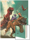 Lockjaw and the Pet Avengers No.2 Cover: Lockjaw, Lockheed and Devil Dinosaur Wood Print by Karl Kerschl