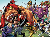 Avengers Academy No.25: Hawkeye, X-23, Mettle, Giant Man, Reptil, Hazmat, Tigra, and Others Plastic Sign by Tom Grummett