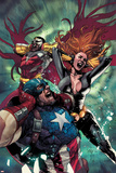 Avengers 15 Cover: Captain America, Black Widow, Falcon Plastic Sign by Leinil Francis Yu