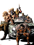 New Avengers No.10 Cover: Kraven the Hunter, Sabretooth, Dominic Fortune, Dum Dum Dugan, and Others Plastic Sign by Mike Deodato