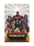 Avengers: The Initiative No.26 Cover: Iron Patriot, Task Master and The Hood Fighting Plastic Sign by Matteo De Longis
