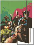 Marvel Adventures Avengers No.10 Cover: Captain America Wood Print by Stewart Cameron