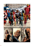 New Avengers No.17 Group: Ms. Marvel, Spider-Man, Wolverine, Iron Man, and Luke Cage Plastic Sign by Mike Deodato