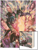Young Avengers No.5 Cover: Kang and Iron Lad Fighting Wood Print by Jim Cheung