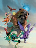 Lockjaw and The Pet Avengers No.1 Cover: Lockjaw, Lockheed, Throg, Redwing and Hairball Plastic Sign by Karl Kerschl