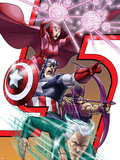 Avengers: Earths Mightest Heroes No.8 Cover: Quicksilver, Captain America and Scarlet Witch Plastic Sign by Scott Kolins