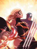 New Avengers No.17 Cover: Ms. Marvel, Captain America and Wolverine Plastic Sign by Mike Deodato