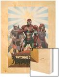 Avengers: The Initiative No.26 Cover: Iron Patriot, Task Master and The Hood Fighting Wood Print by Matteo De Longis