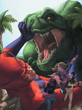 Avengers Academy No.25 Cover: Giant Man, Mettle, and Hazmat Fighting and Escaping a Dinosaur Plastic Sign by Rodin Esquejo