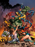 New Avengers No.20 Cover: Jessica Jones, Ms. Marvel, Skaar, Wolverine, Spider-Man and Others Plastic Sign by Mike Deodato