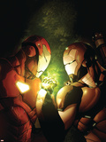 Avengers: The Initiative No.12 Cover: Iron Man and War Machine Fighting and Flying Plastic Sign