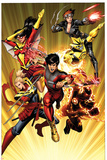 Avengers 11 Cover: Shang-Chi, Sunspot, Captain Marvel, Black Widow, Cannonball, Spider Woman Wall Decal by Dustin Weaver