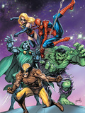 Avengers & The Infinity Gauntlet No.3 Cover: Wolverine, Dr. Doom, Hulk, Spider-Man, and Ms. Marvel Prints by Tom Grummett