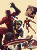 The Mighty Avengers No.12 Cover: Captain America, Giant Man, Iron Man and Thor Plastic Sign