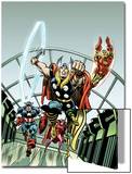 Giant-Size Marvel TPB Cover: Thor, Captain America, Iron Man, Vision and Scarlet Witch Charging Posters by Rich Buckler