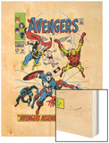 Giant-Size Avengers No.1 Cover: Thor, Iron Man, Captain America and Black Panther Wood Print by John Buscema