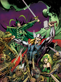 Avengers Prime No.3 Cover: Thor, Enchantress, and Hela Fighting Plastic Sign by Alan Davis