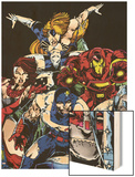 The Official Handbook Of The Marvel Universe Teams 2005 Group: Iron Man Wood Print by Thomas Tenney
