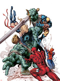 New Avengers No.23 Cover: Skaar, Daredevil, Spider-Man, Ms. Marvel, and Wolverine Fighting Plastic Sign by Mike Deodato