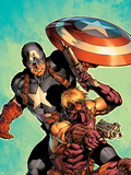 Ultimate Avengers No.2 Cover: Hawkeye and Captain America Plastic Sign by Carlos Pacheco