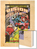 Vision And The Scarlet Witch No.3 Cover: Grim Reaper, Wonder Man, Vision and Scarlet Witch Wood Print by Rick Leonardi