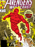 Avengers West Coast No.50 Cover: Human Torch, Hammond and Jim Print by John Byrne