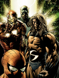 New Avengers No.8 Cover: Captain America, Sentry, Iron Man, Spider-Man and New Avengers Plastic Sign by Steve MCNiven