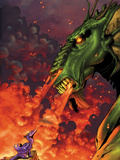 Avengers vs. Pet Avengers No.2 Cover: Fin Fang Foom and Lockheed Flaming Wall Decal by Ig Guara
