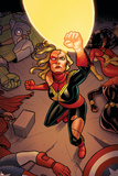 Avengers Assemble 17 Cover: Captain Marvel Plastic Sign by Joe Quinones