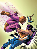 Marvel Adventures The Avengers No.35 Cover: Batroc The Leaper, Hawkeye and Spider-Man Plastic Sign by David Williams