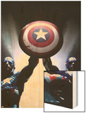 Captain America Reborn: Who will weild the shield Cover: Captain America Wood Print by Gerald Parel