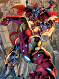 Avengers No.12.1: Iron Man, Ms. Marvel, Protector, and Thor Plastic Sign by Bryan Hitch