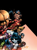 Avengers No.500 Cover: Captain America, Iron Man, Vision, Scarlet Witch, Giant Man and Avengers Plastic Sign by David Finch