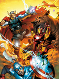 Avengers vs. Pet Avengers No.3 Cover: Captain America, Iron Man, Lockjaw, and Thor Fighting Plastic Sign by Ig Guara