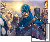 Ultimates 3 No.5 Cover: Captain America, Hawkeye, Black Panther, Iron Man, Wasp, Thor and Sif Prints by Joe Madureira