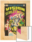 Vision And The Scarlet Witch No.2 Cover: Nuklo, Scarlet Witch, Whizzer and Vision Fighting Wood Print by Rick Leonardi