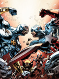 New Avengers No.24 Cover: Cyclops, Captain America, and Wolverine Fighting Plastic Sign by Mike Deodato