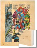 Giant-Size Avengers No.1 Group: Thor, Captain America, Hawkeye, Black Panther and Vision Wood Print by John Buscema
