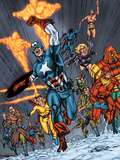Avengers/Invader No.11 Group: Captain America, Human Torch, Toro and Black Widow Prints by Steve Sadowski