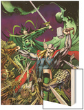 Avengers Prime No.3 Cover: Thor, Enchantress, and Hela Fighting Wood Print by Alan Davis