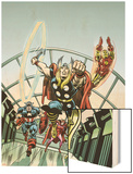 Giant-Size Marvel TPB Cover: Thor, Captain America, Iron Man, Vision and Scarlet Witch Charging Wood Print by Rich Buckler