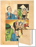 Avengers Classics No.1 Group: Hulk, Thor, Lee, Stan and Iron Man Wood Print by Kevin Maguire