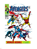Giant-Size Avengers No.1 Cover: Thor, Iron Man, Captain America and Black Panther Plastic Sign by John Buscema