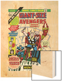 Giant-Size Avengers No.1 Cover: Thor, Captain America, Iron Man, Vision and Scarlet Witch Charging Wood Print by Rich Buckler