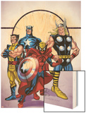 Marvel Adventures The Avengers No.39 Cover: Spider-Man, Thor, Wolverine and Captain America Wood Print by Casey Jones