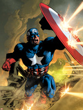 Secret Avengers No.12 Cover: Captain America Fighting with his Shield Plastikskilte af Mike Deodato