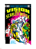 Vision And The Scarlet Witch No.2 Cover: Nuklo, Scarlet Witch, Whizzer and Vision Fighting Plastic Sign by Rick Leonardi