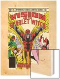 Vision And The Scarlet Witch No.4 Cover: Magneto, Vision, Scarlet Witch, Quicksilver and Crystal Wood Print by Rick Leonardi